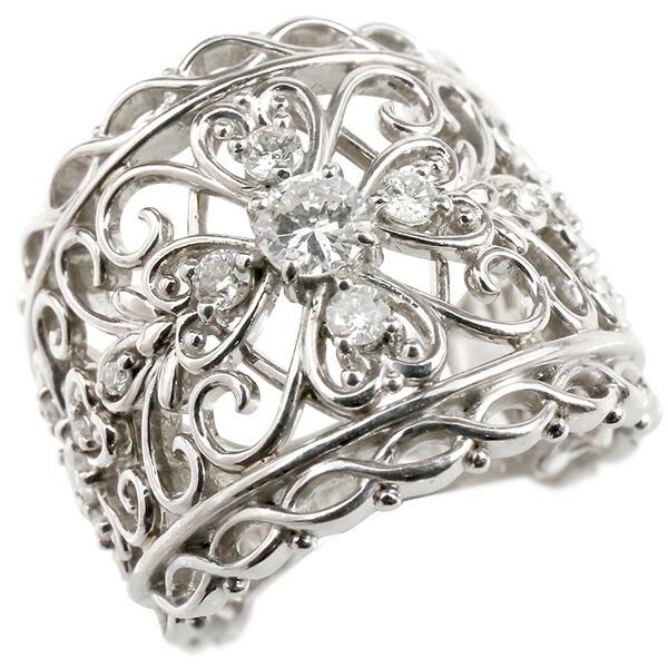 婚約指輪 プラチナリング ダイヤモンド エンゲージリング ダイヤモンド 幅広 透かし アンティーク 指輪 ピンキーリング pt900 宝石 レディース