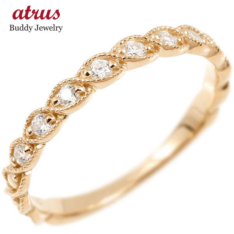 婚約指輪 リング ピンクゴールドk10 キュービックジルコニア エンゲージリング 指輪 ミル打ち ピンキーリング 10金 宝石 レディース