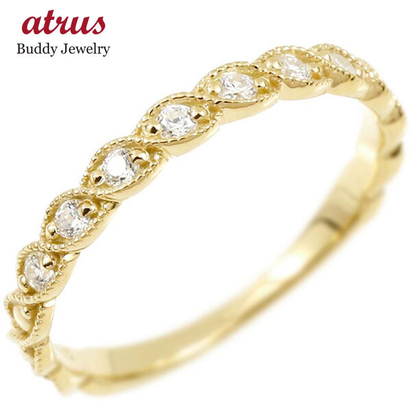 婚約指輪 リング イエローゴールドk18 キュービックジルコニア エンゲージリング 指輪 ミル打ち ピンキーリング 18金 宝石 レディース