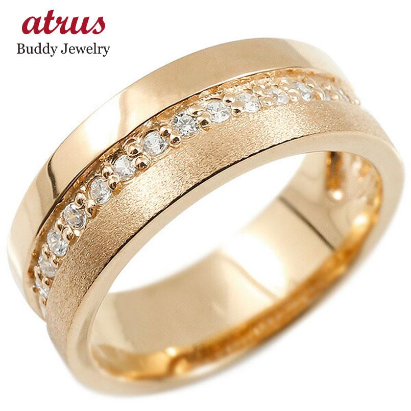 婚約指輪 ピンクゴールドk10 リング キュービックジルコニア エンゲージリング 指輪 幅広 つや消し ピンキーリング 宝石 レディース