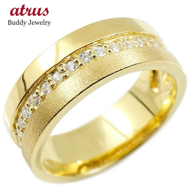 婚約指輪 イエローゴールドk18 リング ダイヤモンド エンゲージリング ダイヤ 指輪 幅広 つや消し ピンキーリング 宝石 レディース