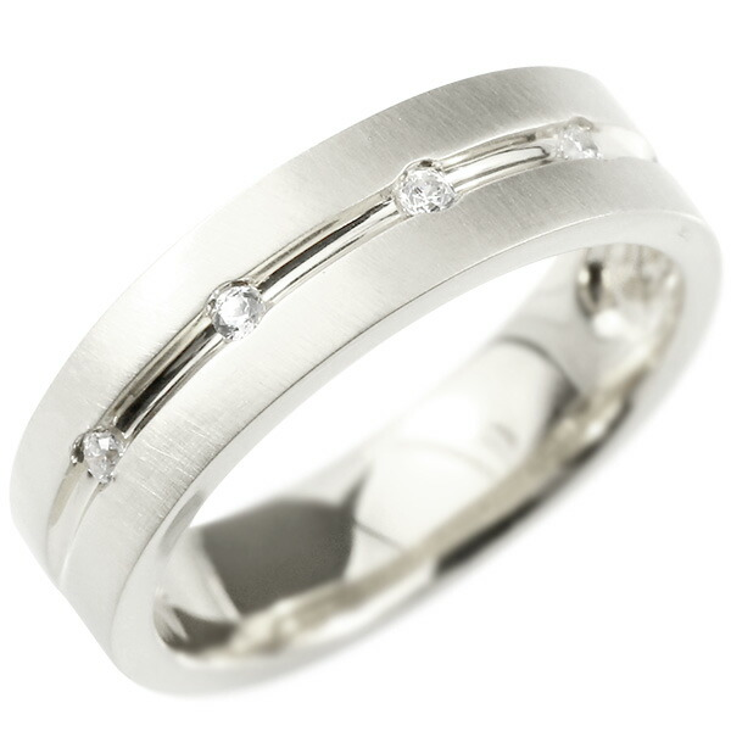 婚約指輪 ホワイトゴールドk10 リング キュービックジルコニア エンゲージリング 指輪 幅広 ホーニング加工 つや消し ピンキーリング 宝石 レディース