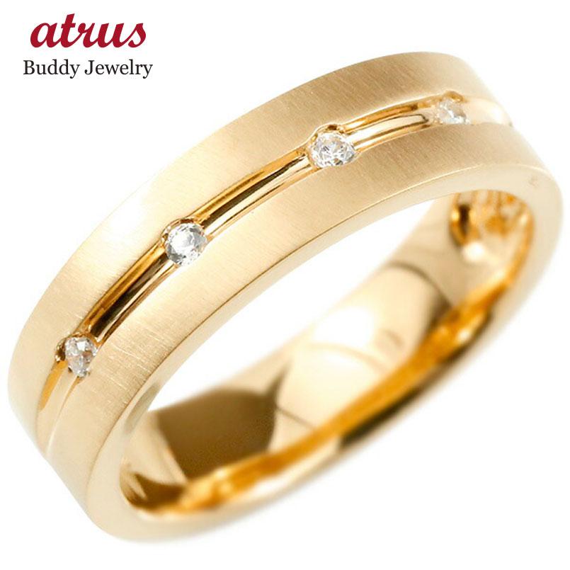 婚約指輪 ピンクゴールドk18 リング ダイヤモンド エンゲージリング ダイヤ 指輪 幅広 ホーニング加工 つや消し ピンキーリング 宝石 レディース
