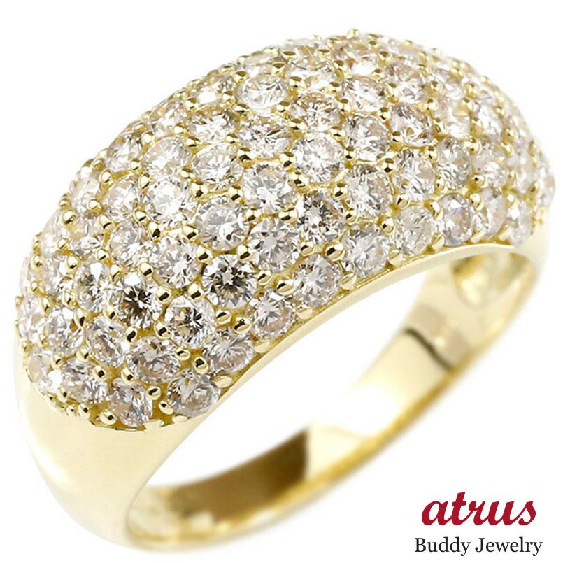 婚約指輪 リング イエローゴールドk18 ダイヤモンド パヴェ ピンキーリング ダイヤ 指輪 幅広 エンゲージリング 18金 宝石 レディース