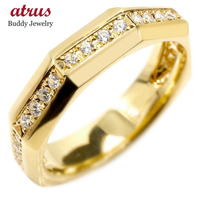 婚約指輪 リング イエローゴールドk18 ダイヤモンド エンゲージリング ダイヤ 指輪 ピンキーリング 18金 宝石 レディース
