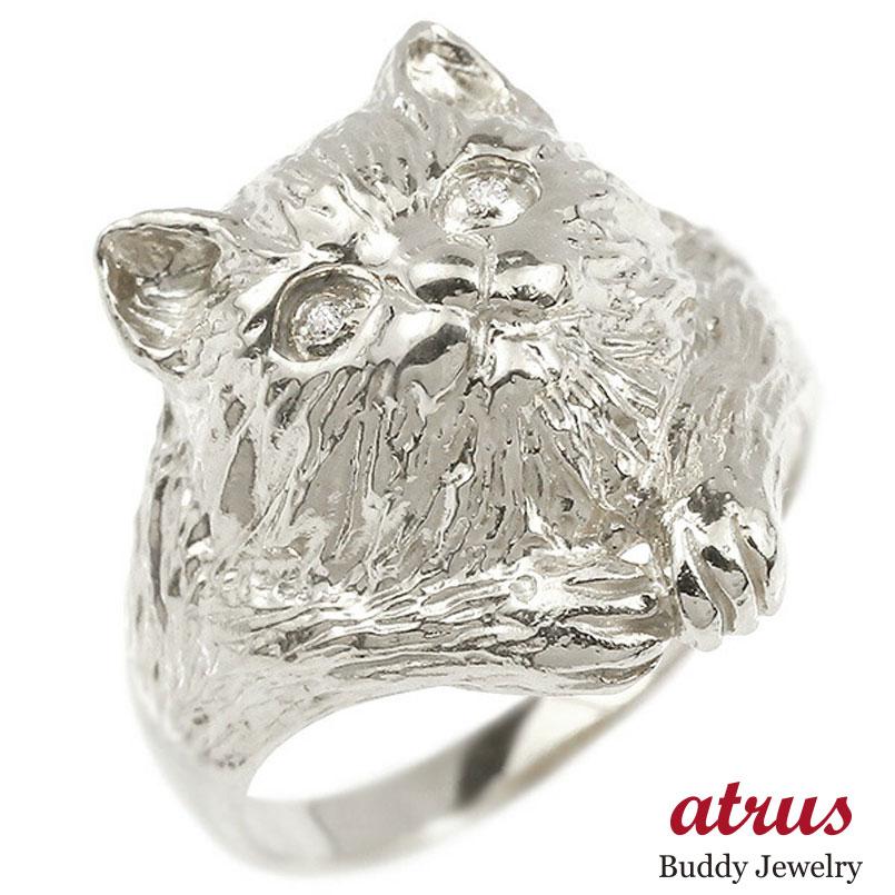プラチナリング ダイヤモンド 猫 エンゲージリング 幅広 指輪 ピンキーリング 婚約指輪 pt900 宝石 ねこ ネコ レディース