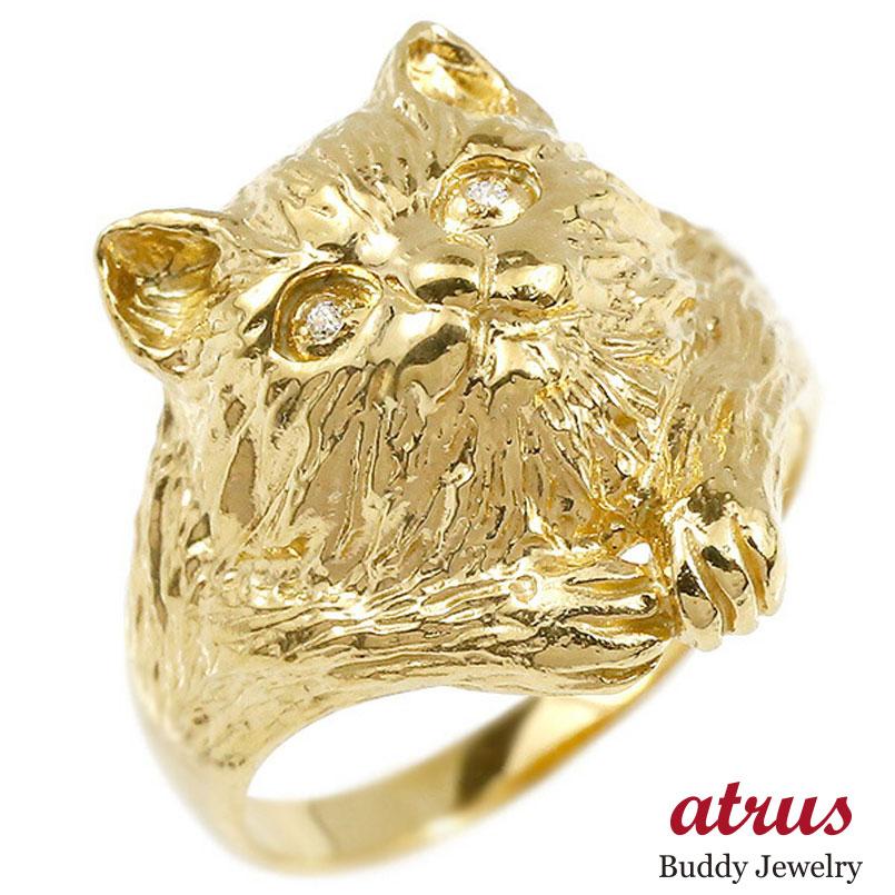 リング ダイヤモンド 猫 イエローゴールドk10 エンゲージリング 幅広 指輪 ピンキーリング 婚約指輪 10金 宝石 ねこ ネコ レディース