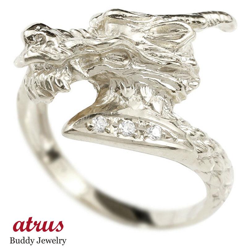 リング ダイヤモンド 龍 ホワイトゴールドk10 エンゲージリング 幅広 指輪 ピンキーリング 婚約指輪 10金 宝石 ドラゴン 竜 レディース