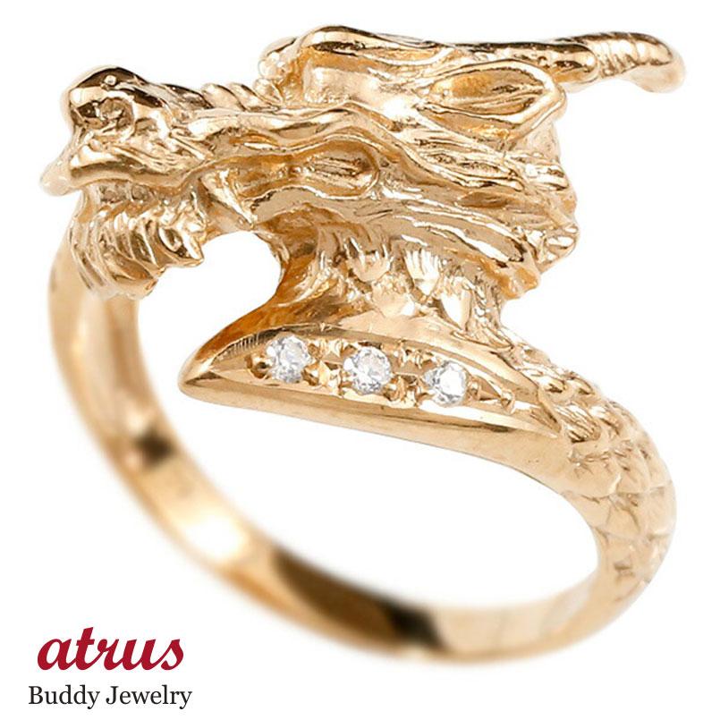 リング ダイヤモンド 龍 ピンクゴールドk10 エンゲージリング 幅広 指輪 ピンキーリング 婚約指輪 10金 宝石 ドラゴン 竜 レディース