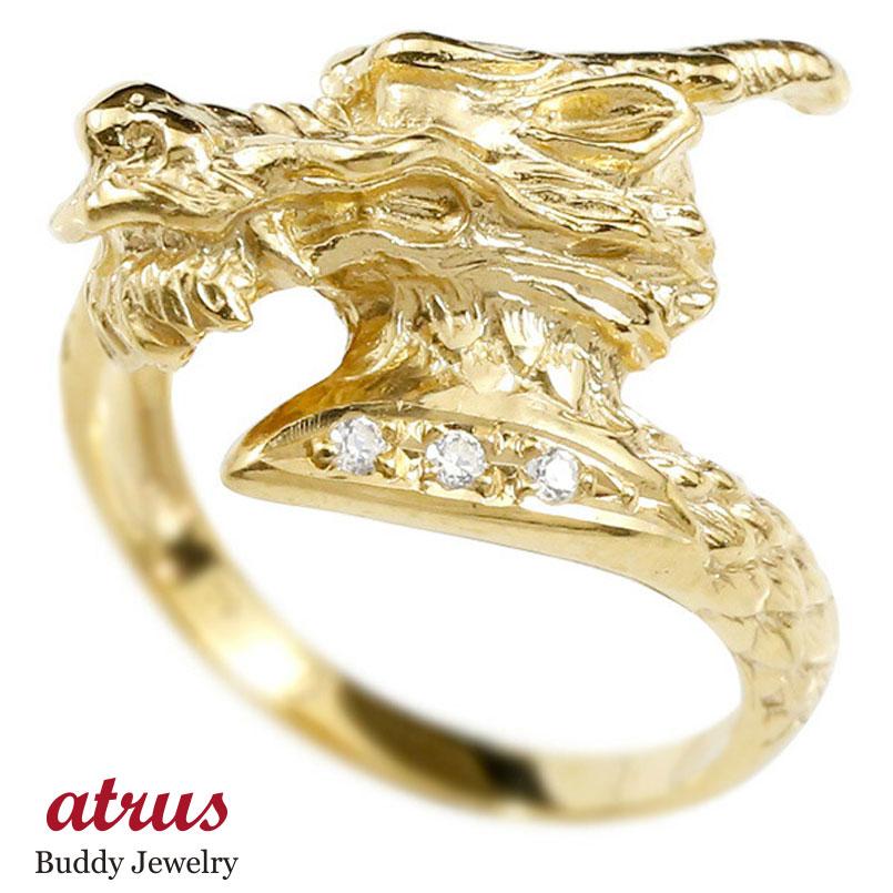 リング ダイヤモンド 龍 イエローゴールドk10 エンゲージリング 幅広 指輪 ピンキーリング 婚約指輪 10金 宝石 ドラゴン 竜 レディース
