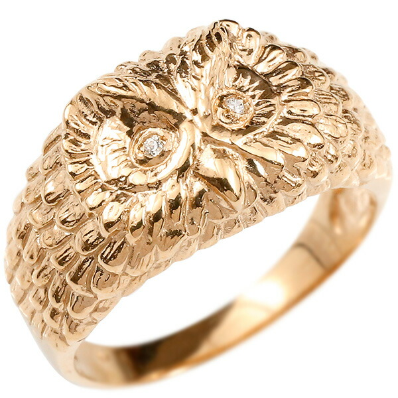 リング ダイヤモンド ふくろう ピンクゴールドk18 エンゲージリング 幅広 指輪 ピンキーリング 婚約指輪 18金 宝石 フクロウ 梟 レディース