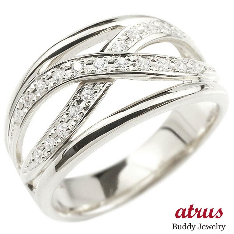 メンズ リング ホワイトゴールドk10 ダイヤモンド 幅広 指輪 リング ダイヤ ピンキーリング 男性用