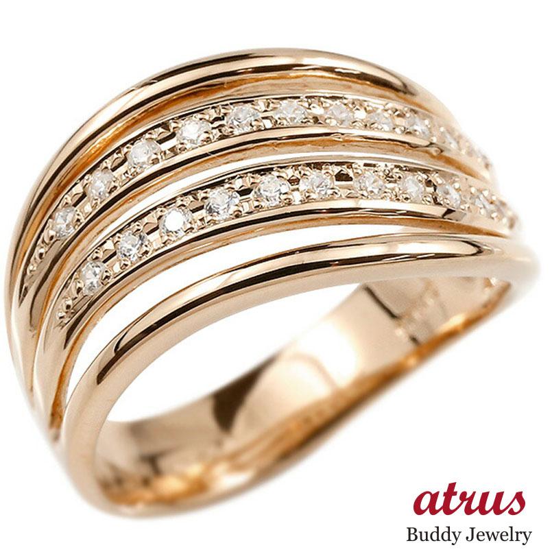 メンズ リング ピンクゴールドk10 ダイヤモンド 幅広 指輪 リング ダイヤ ピンキーリング 男性用