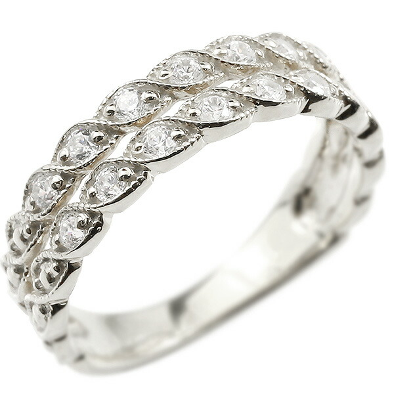 婚約指輪 リング シルバー925 ダイヤモンド エンゲージリング 2連 指輪 ミル打ち ミルグレイン アンティーク ピンキーリング 宝石 レディース