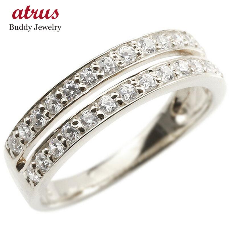 婚約指輪 リング ホワイトゴールドk18 ダイヤモンド エンゲージリング 2連 指輪 ピンキーリング 宝石 レディース