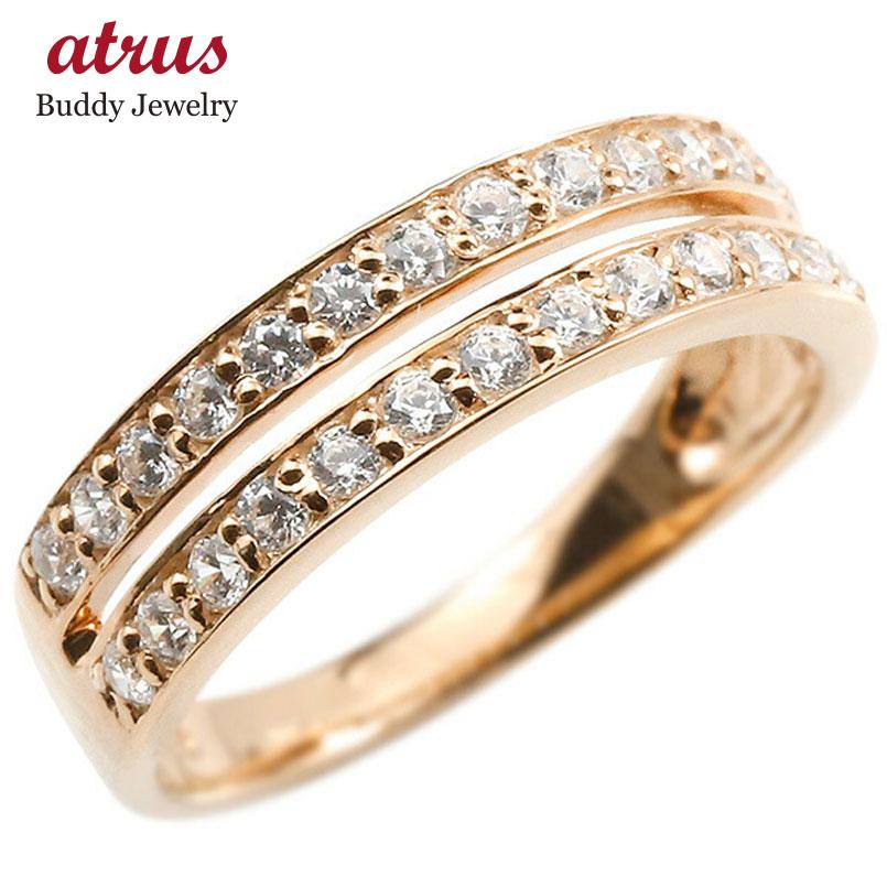 婚約指輪 リング ピンクゴールドk18 ダイヤモンド エンゲージリング 2連 指輪 ピンキーリング 宝石 レディース