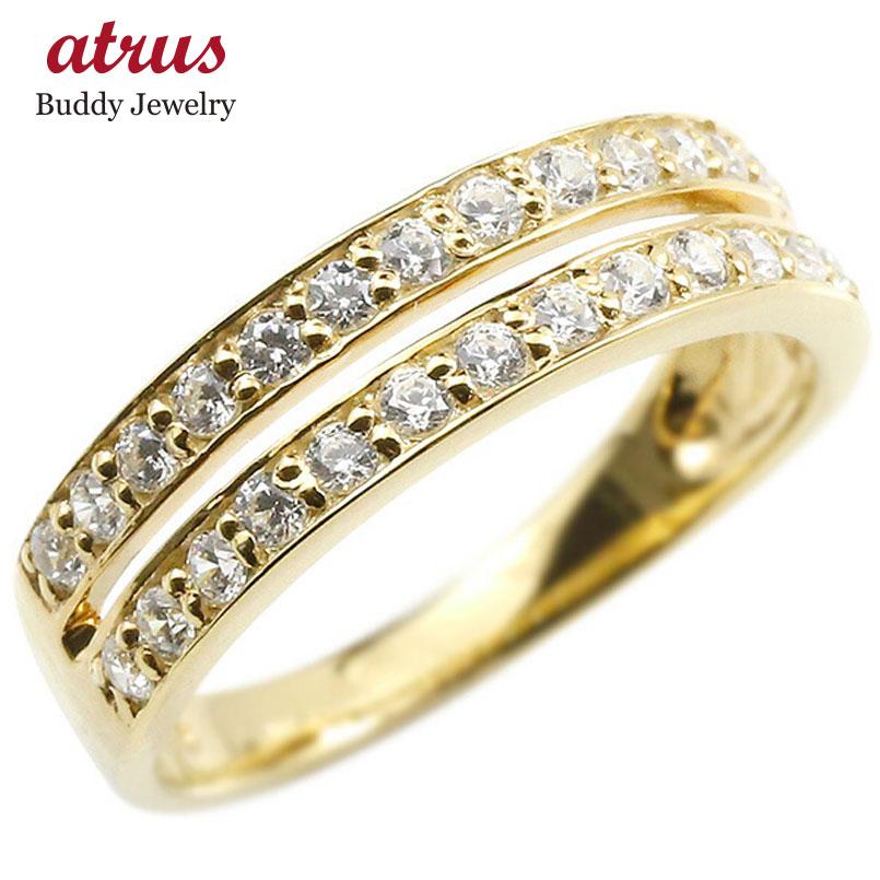婚約指輪 リング イエローゴールドk18 ダイヤモンド エンゲージリング 2連 指輪 ピンキーリング 宝石 レディース