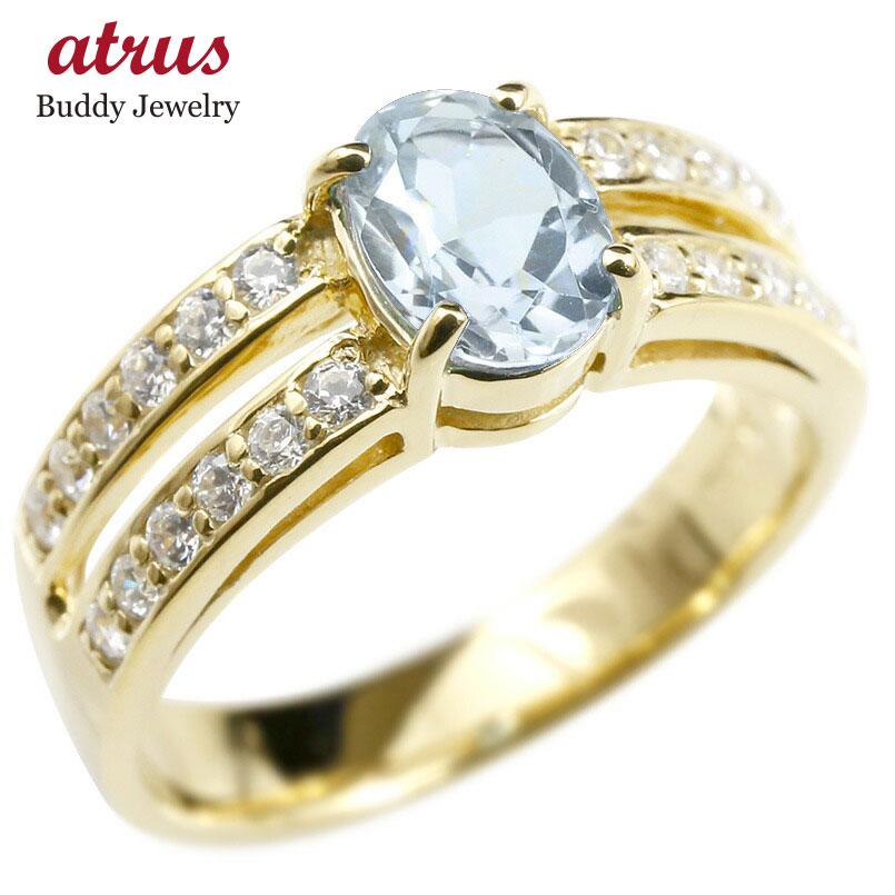 リング キュービックジルコニア アクアマリン 婚約指輪 ピンキーリング ダイヤ 指輪 幅広 エンゲージリング イエローゴールドk18 レディース