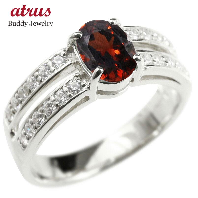 リング キュービックジルコニア ガーネット 婚約指輪 ピンキーリング ダイヤ 指輪 幅広 エンゲージリング ホワイトゴールドk10 レディース