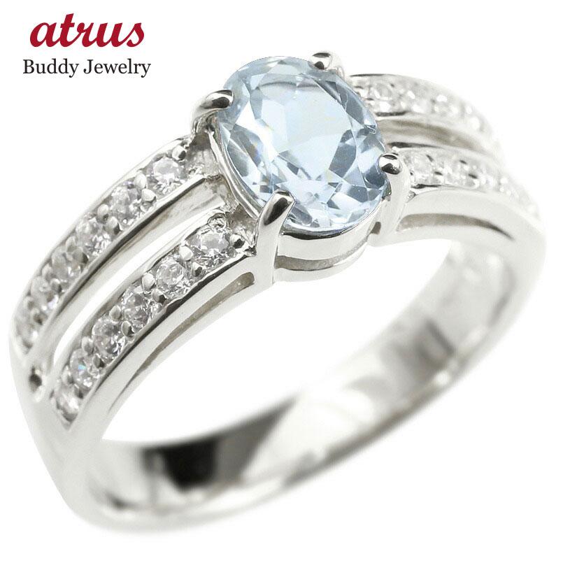 リング キュービックジルコニア アクアマリン 婚約指輪 ピンキーリング ダイヤ 指輪 幅広 エンゲージリング ホワイトゴールドk10 レディース