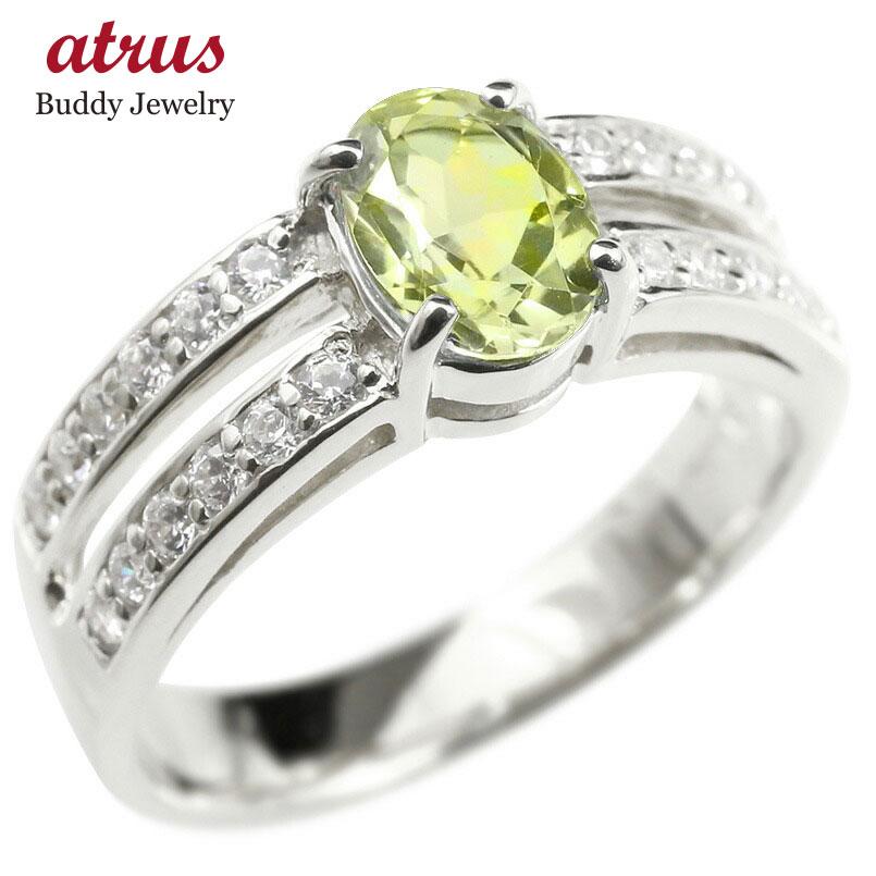 リング ダイヤモンド ペリドット 婚約指輪 ピンキーリング ダイヤ 指輪 幅広 エンゲージリング ホワイトゴールドk18 レディース