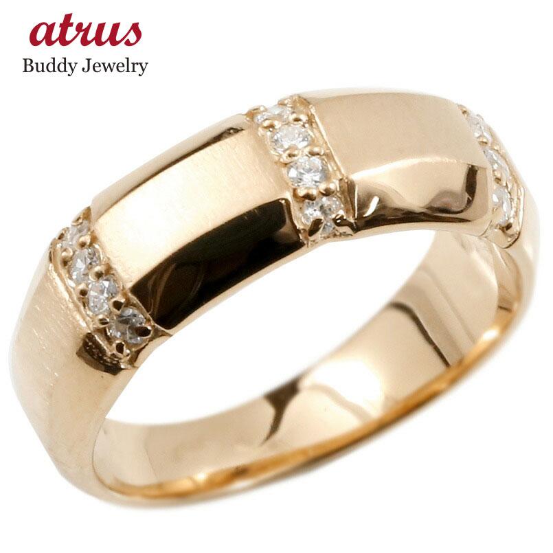 婚約指輪 ピンクゴールドk18 18金 リング ダイヤモンド エンゲージリング ダイヤ 指輪 幅広 サテン仕上げ ピンキーリング 宝石 レディース