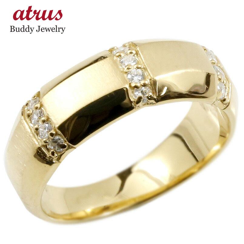 婚約指輪 イエローゴールドk10 10金 リング ダイヤモンド エンゲージリング ダイヤ 指輪 幅広 サテン仕上げ ピンキーリング 宝石 レディース