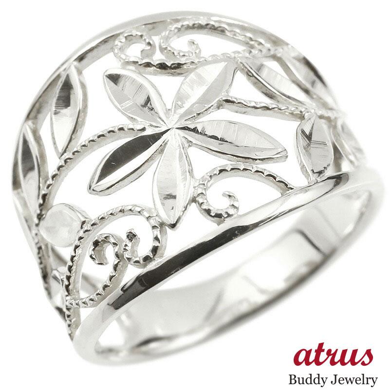 婚約指輪 リング ホワイトゴールドk18 エンゲージリング 幅広 透かし ミル打ち 花 植物 指輪 ピンキーリング 18金 レディース