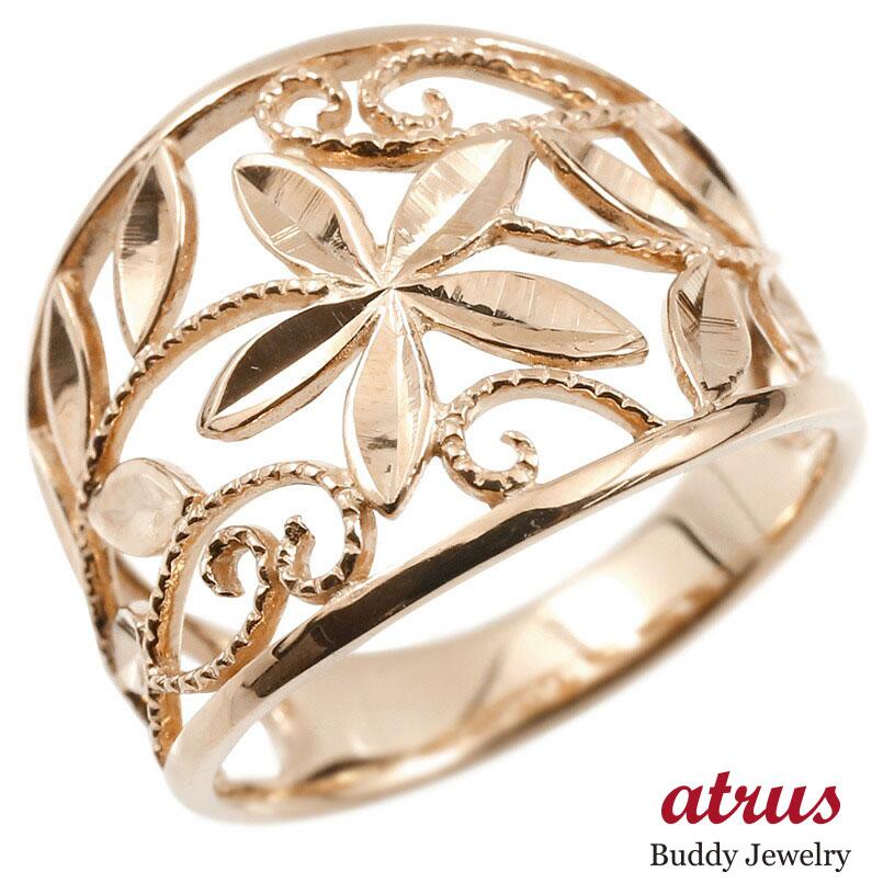 婚約指輪 リング ピンクゴールドk18 エンゲージリング 幅広 透かし ミル打ち 花 植物 指輪 ピンキーリング 18金 レディース