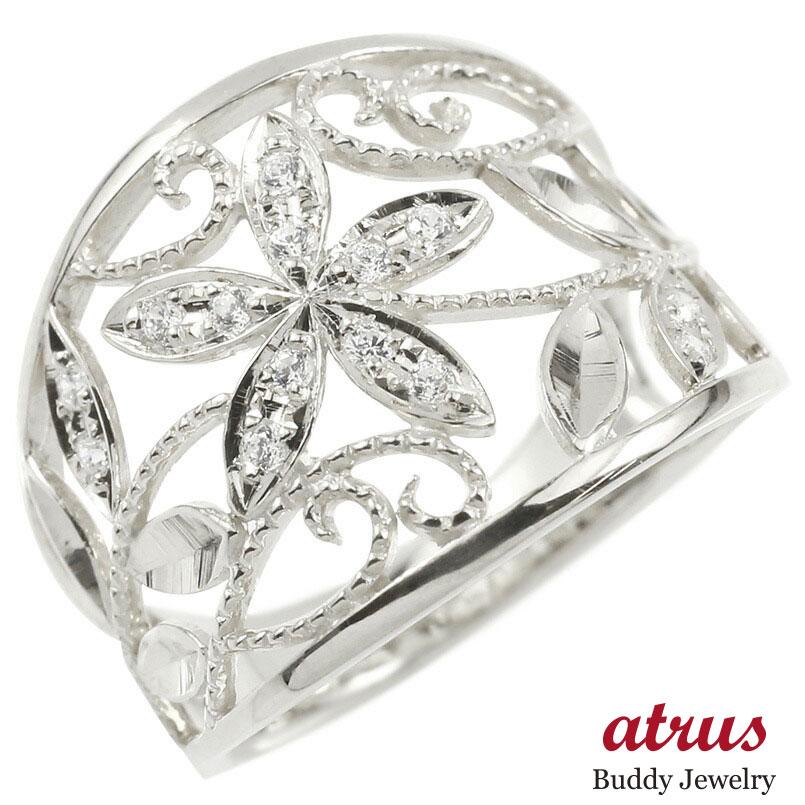 婚約指輪 リング ホワイトゴールドk18 ダイヤモンド エンゲージリング ダイヤモンド 幅広 透かし ミル打ち 花 植物 指輪 ピンキーリング 18金 レディース
