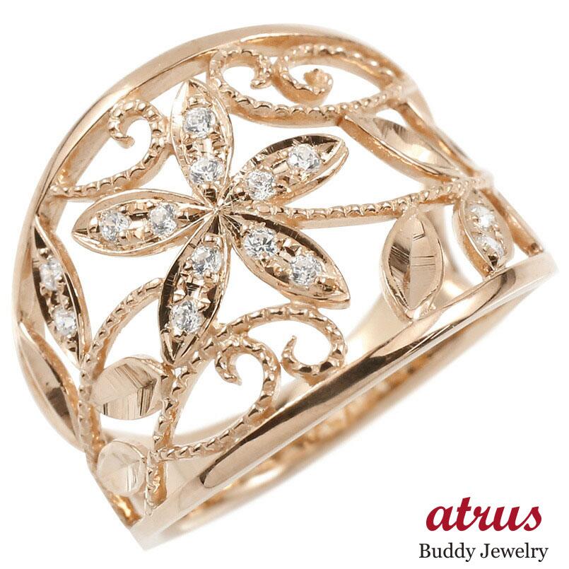 婚約指輪 リング ピンクゴールドk18 ダイヤモンド エンゲージリング ダイヤモンド 幅広 透かし ミル打ち 花 植物 指輪 ピンキーリング 18金 レディース
