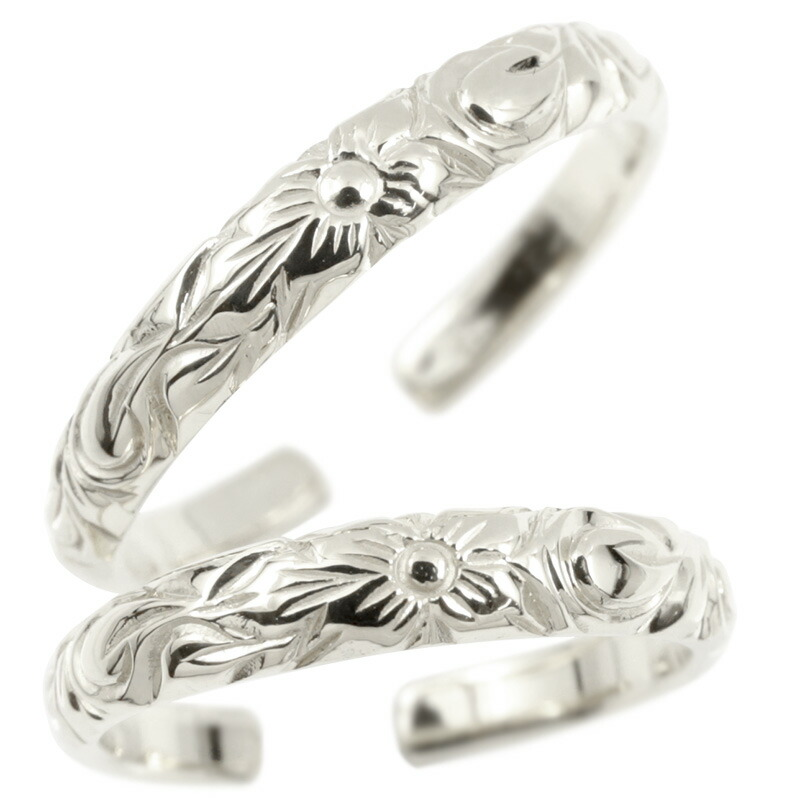 ハワイアンジュエリー ペアリング シルバー925 リング 指輪 フリーサイズ ハワイアンリング プルメリア スクロール 地金