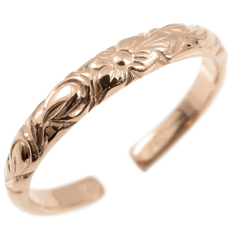 ハワイアンジュエリー ピンキーリング ピンクゴールドk10 リング 指輪 フリーサイズ ハワイアンリング プルメリア スクロール 地金 ファランジリング