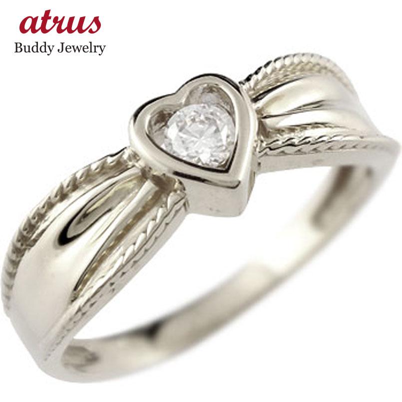 ハート リング キュービックジルコニア 指輪 シルバー ピンキーリング