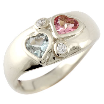 ハート プラチナ リング アクアマリン ピンクトルマリン ダイヤモンド 指輪 ピンキーリング