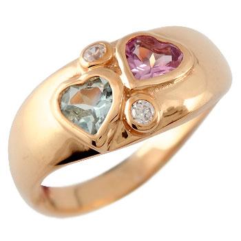 ハート リング アクアマリン ピンクトルマリン ダイヤモンド 指輪 ピンキーリング ピンクゴールドk18