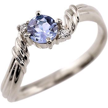 タンザナイト プラチナ リング ダイヤモンド 指輪 ピンキーリング 12月誕生石