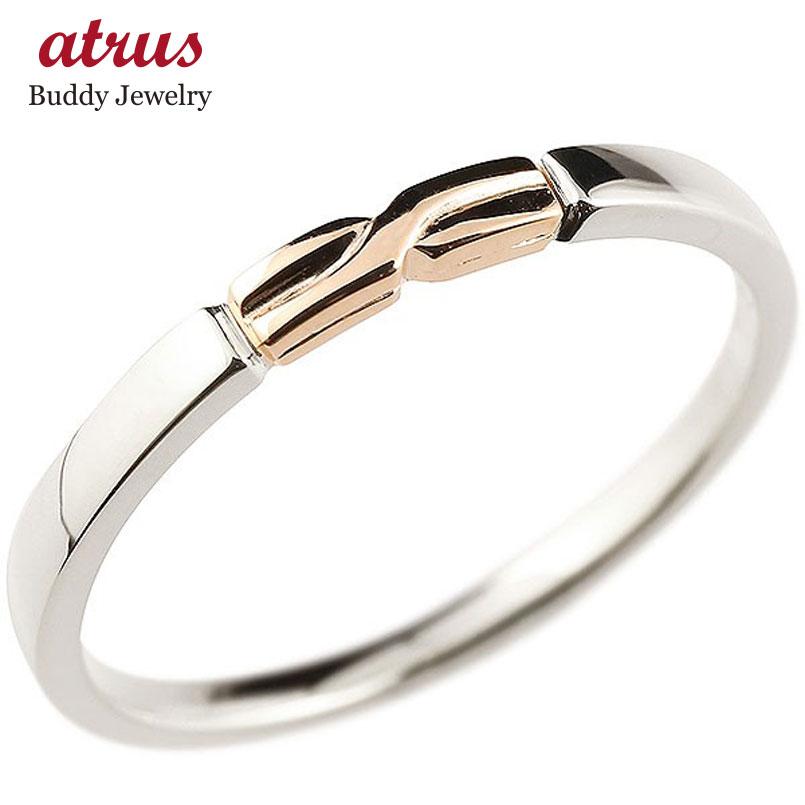 プラチナ エンゲージリング ピンクゴールドk10 結び リング ピンキーリング 指輪 pt900 華奢 ストレート 地金 10金 コンビ