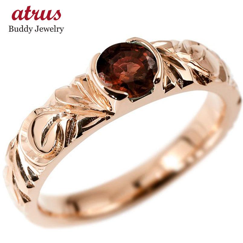 ハワイアンジュエリー リング ガーネット 指輪 ピンクゴールドk10 幅広 一粒 大粒 ハワイアン マイレ スクロール 1月誕生石 ピンキーリング