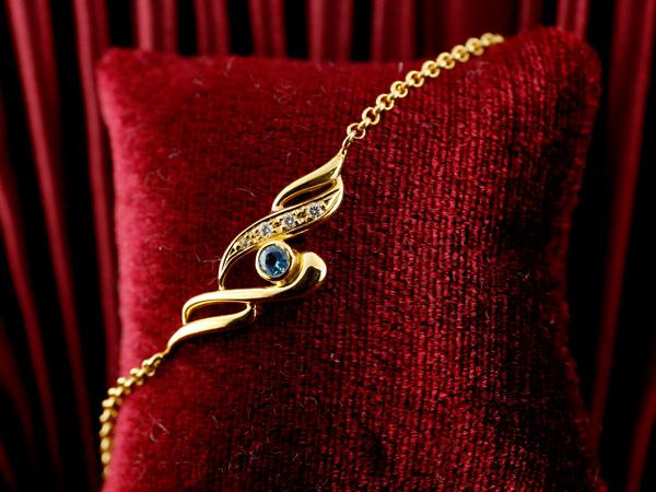 ブルートパーズ ブレスレット ダイヤモンド イエローゴールドk18 レディース 11月誕生石