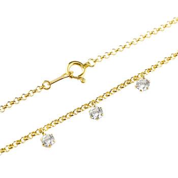 ダイヤモンド ブレスレット トリロジー チェーン イエローゴールドk18 18金 4月誕生石