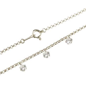 ダイヤモンド ブレスレット トリロジー チェーン ホワイトゴールドk18 18金