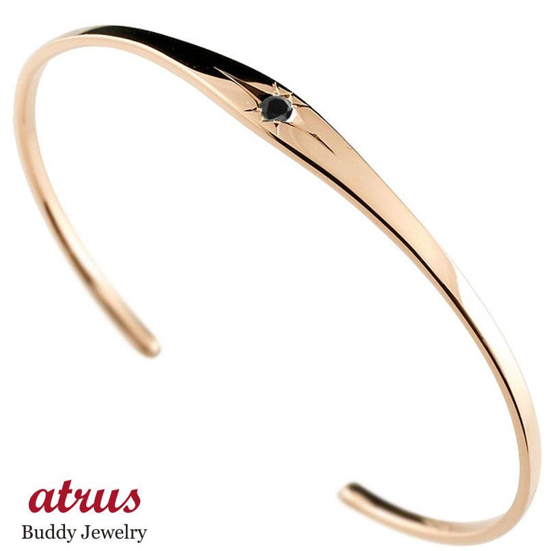 ブラックダイヤモンド ピンクゴールド ブレスレット 一粒 シンプル メンズ 4月誕生石