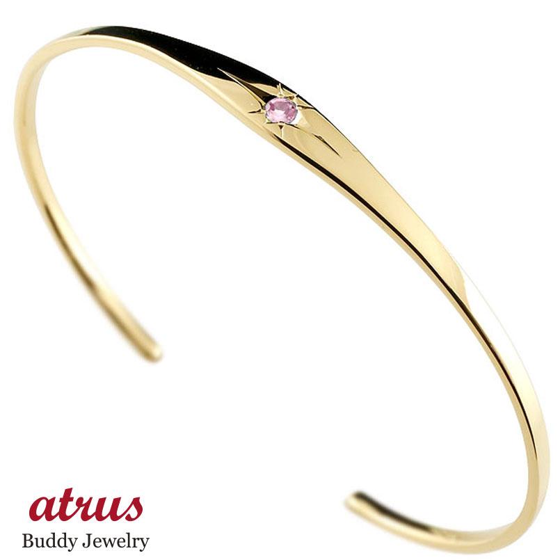 ピンクサファイア イエローゴールド ブレスレット 一粒 シンプル メンズ 9月誕生石
