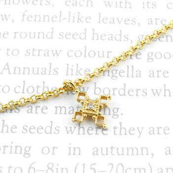ブレスレット クロス 十字架 キュービックジルコニア イエローゴールドk18 レディース