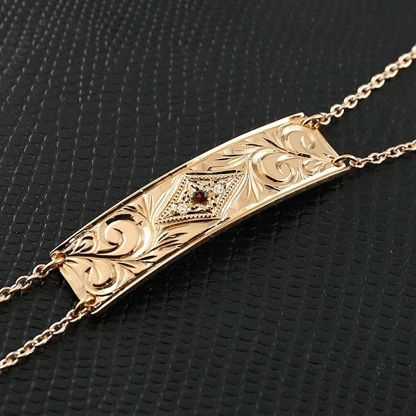 ハワイアンジュエリー ブレスレット プレート ガーネット ピンクゴールドk10 ダイヤモンド レディース ミル打ち ダイヤ 10金