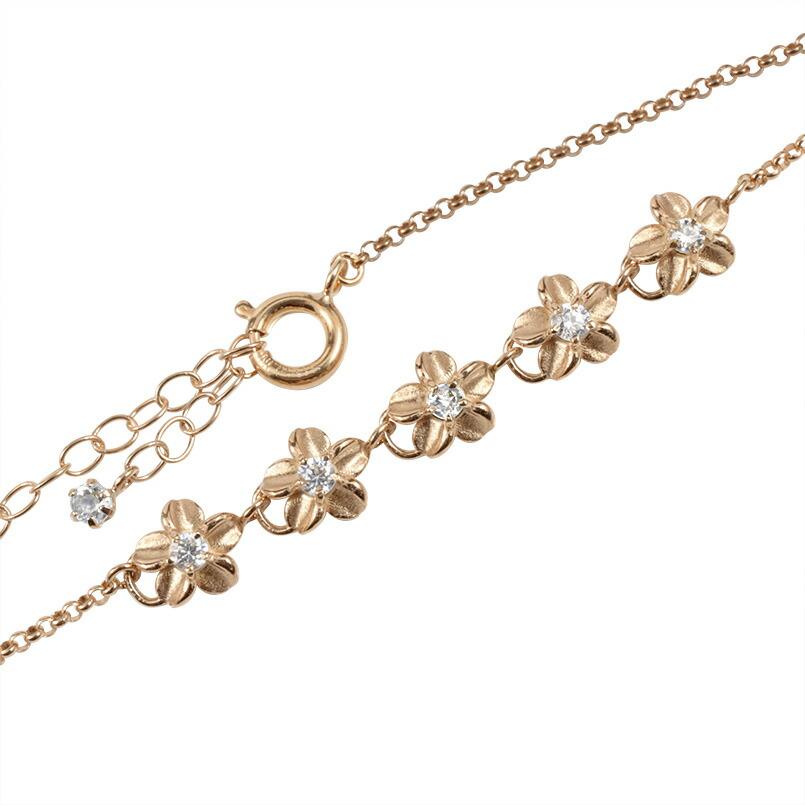 ハワイアンジュエリー ブレスレット ダイヤモンド プルメリア ブレス ピンクゴールドk18 レディース 花 フラワー アジャスターチェーン付き