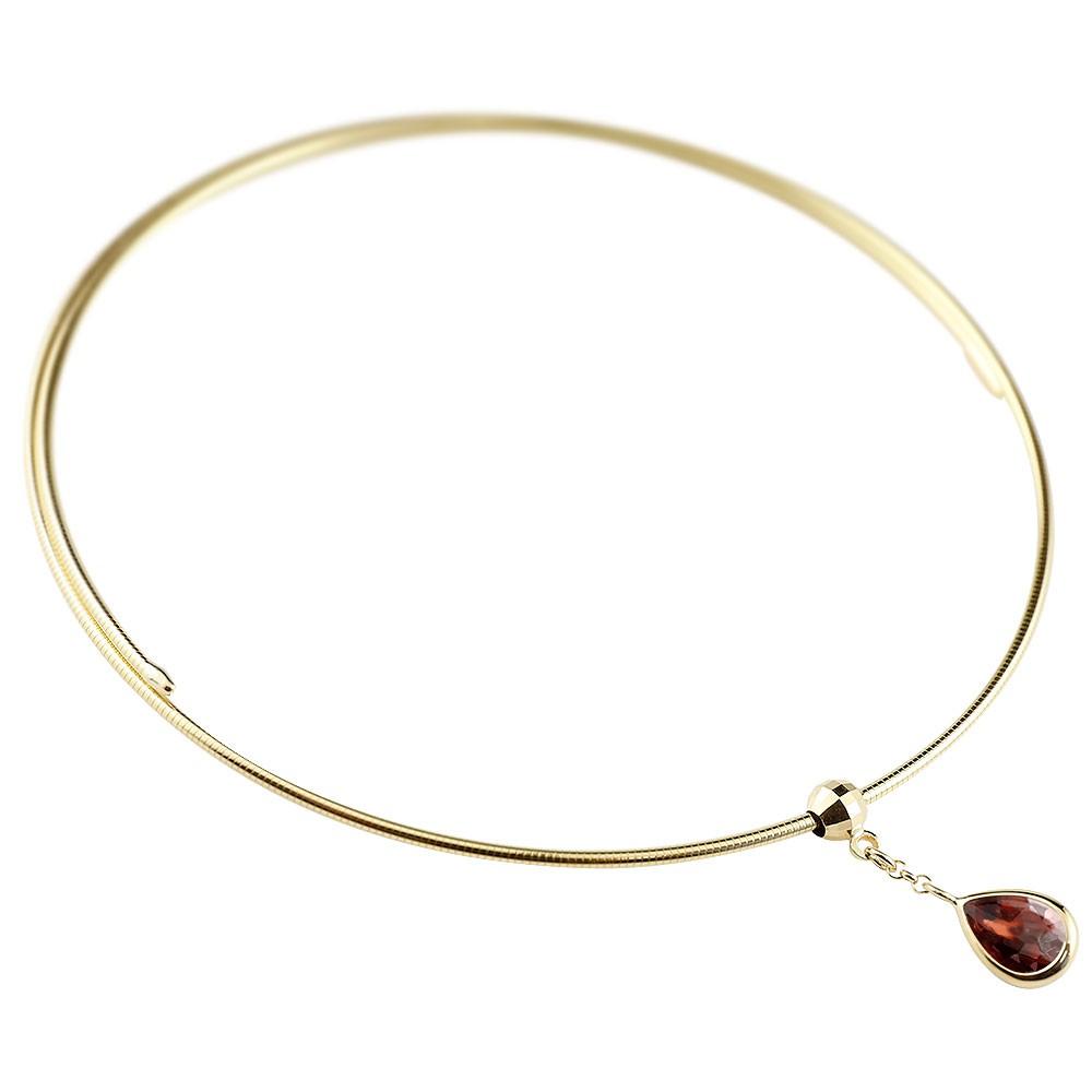 ブレスレット イエローゴールドk18 ガーネット 18金 レディース 宝石 形状記憶ブレスレット