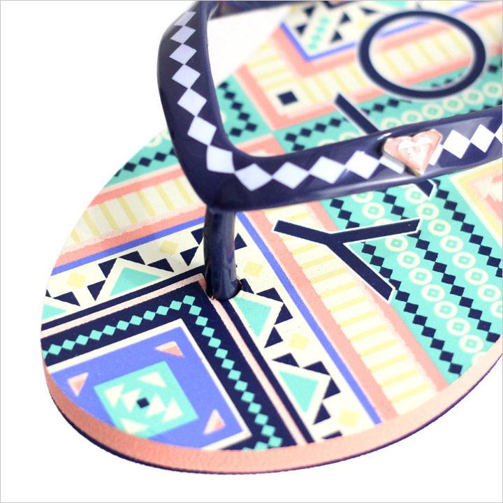 ビーチサンダル キッズ ROXY RG PEBBLES V - TSD171031C 【 ロキシー サンダル ガールズ ロゴ ドット エキゾチック ボタニカル 柄 かわいい 女の子 靴 17 2017 夏 】 【 日本正規取扱店 】
