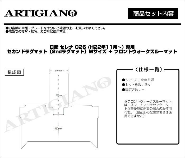 NISSAN(日産) セレナC26 ラグマット+ウォークスルーマットセット